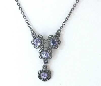 1928 Necklace  With Blue Rhinestone Drop  Chain Necklace