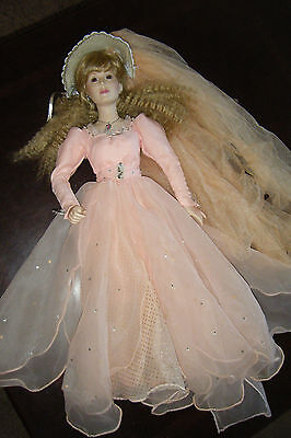 "Vintage Danbury Mint 1988 FAIRY GODMOTHER Porcelain 24"" Doll Pink Gown Jeweled"