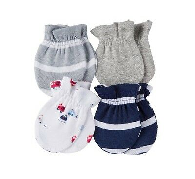 Gerber Firetrucks 4-Pack Blue/Gray Mittens Size 0-3M BABY CLOTHES SHOWER GIFT