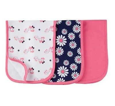 Gerber Baby Girl 3-Pack Premium Burp Cloths Pink w/ Flowers & Cats SHOWER GIFTS
