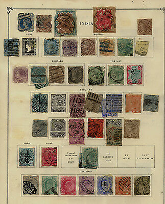 India  mostly  used  stamps  on  album  page         KEL1211