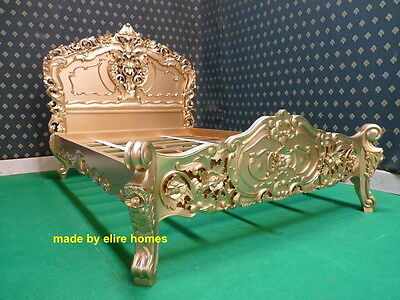 "4'6""  Gold Double Size French Baroque Louis style ....  Top Quality Rococo Bed"