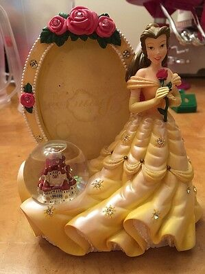 Disney Princess Belle Yellow Picture Photo Stand Frame Castle snow globe Rose