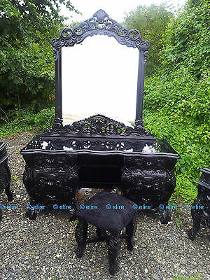 Matt or Saten BLACK Gothic Oriental Rococo Dressing table mirrored frame & stool