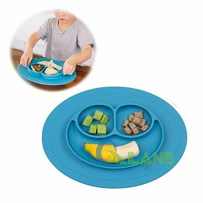 New Baby Happy One-Piece Silicone Placemat Food Divided Plate Mat Toddler Kids