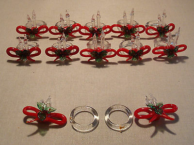 10 Vintage Glass Christmas Napkin Rings Holders Red Bows & Clear Candles