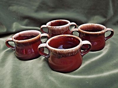 Set of 4 McCoy Pottery Brown Drip Soup Chili Bowls Mugs w/ Double Handles