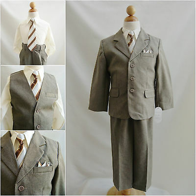 Boy Dark/Khaki/taupe/ivory toddler teen wedding party tuxedo vest formal suit