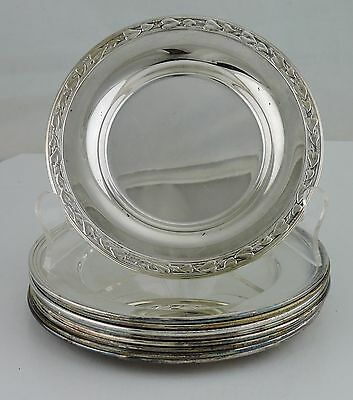 Vintage Silver Plated Plate Or Coaster Set Of 9 Silverware