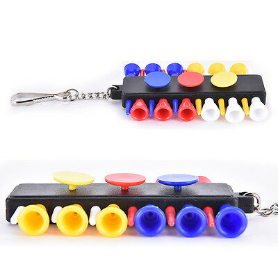 1x Golf Tee Holder Carrier With 12 Plastic Tees With 3 Ball Markers + KeychainMD