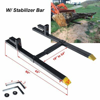 "60"" LW Clamp on Pallet Fork 2000lb Capacity Loader Adjustable Bar Bucket Tractor"