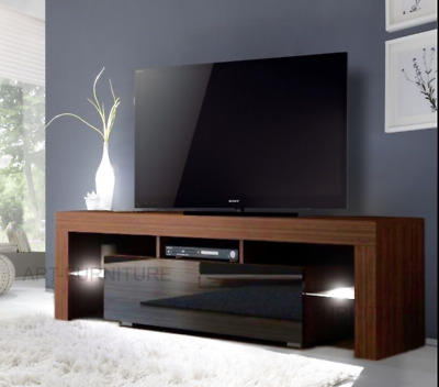 Modern Tv Unit 130 Matt White Gloss Grey Black Walnut Cabinet Stand Led Lights