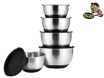 X Chef Professional Stainless Steel Mixing Bowls Set With Lids Set of 5 New