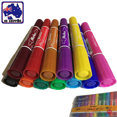 12pcs Colorful Oil Based Art Drawing Pens Poster Markers Set Permanent SMAR40712