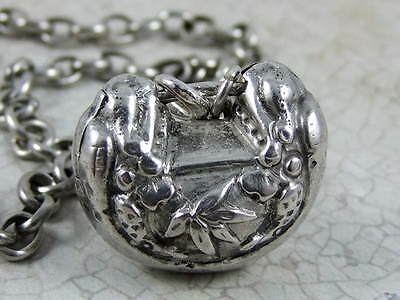 Antique Chinese Sterling Silver Lock Carved Dragon With Bamboo Leaf Necklace