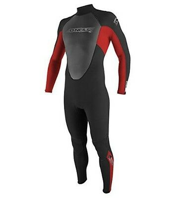 O'Neill Wetsuits Mens 3/2mm Reactor Full Suit, Black/Red/Black, X-Large