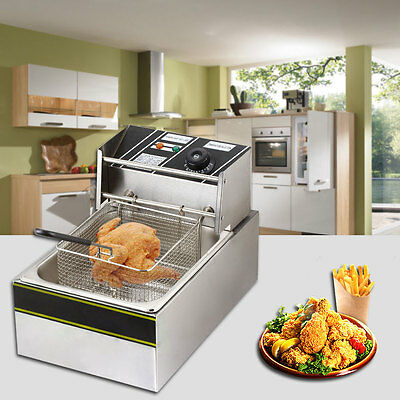 Electric Countertop Deep Fryer Commercial Basket French Fry Restaurant 2500W 6L