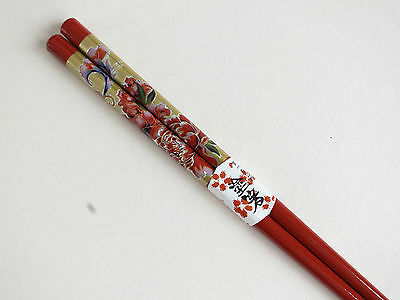 Japanese Red Peony Flower Chopsticks Hair Stick Chinese Dinner New Year Party A9