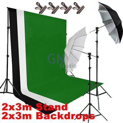 Photo Studio Umbrella Flash Lighting 2x3m Backdrop Background Support Stand Kit