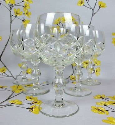 """Lovely set of 6 hand cut lead crystal glass WINE GLASSES. 14.5 cm or 5 3/4"""" high"""