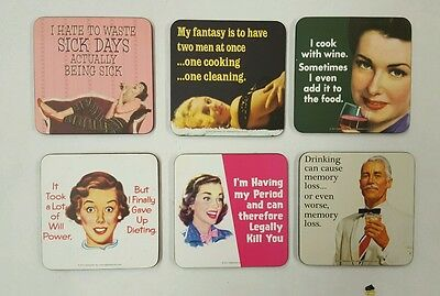 set of 6 humour funny coasters jokes gift adult