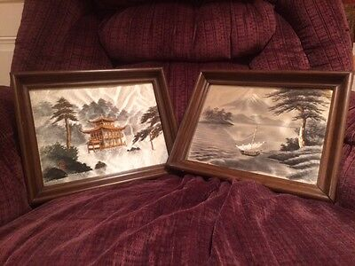 Vintage Oriental Silk Embroidered Pictures. Pagoda, Lake & Mountain Scenes