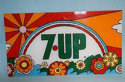 Rare Psychedelic  7Up Peter Max Style Plastic Sign 18 1/2 X 10 1/4