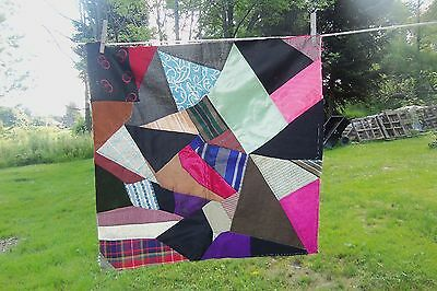 "Beautiful Old Large Hand Stitched CRAZY QUILT Patchwork Block Square 25"" x 25"""