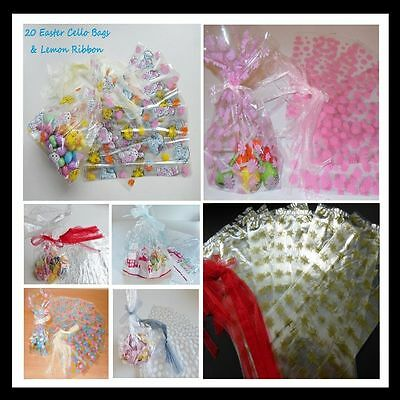 Patterned Cello Cellophane Gift Presentation Bags & Ribbon. Various designs/ qua