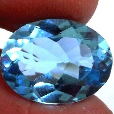 NATURAL TOP SWISS BLUE TOPAZ LOOSE GEMSTONE (17.3 x 13.1 mm) LARGE OVAL SHAPE