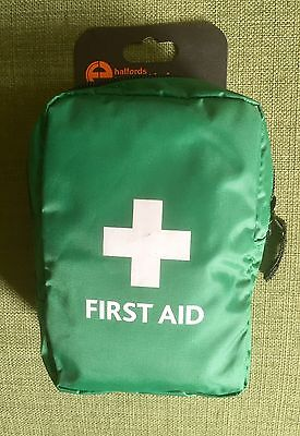 Halfords Essentials Compact First Aid Kit Bandage Wipes Gloves Plasters Pads