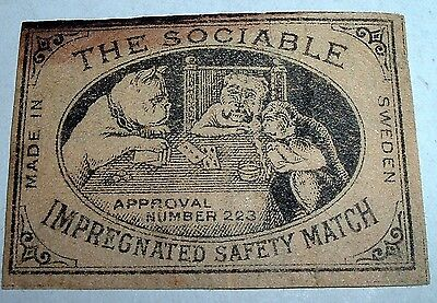 Antique Matchbook Label #63 THE SOCIABLE Dogs Monkey Playing Cards