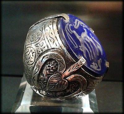 Massive Vintage Near Eastern Islamic Seal Ring with Carved Lapis Tughra Intaglio