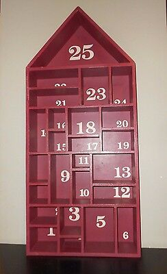 Pottery Barn Red Painted Wood House Christmas Advent Calendar New w/Small Scuffs