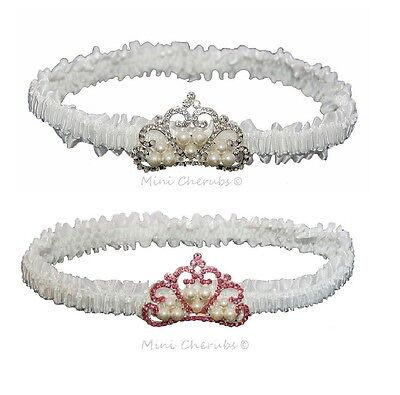 Baby Girls White Satin Headband Faux Pearl Princess Crown Christening Occasion