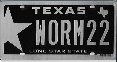 2013  TEXAS  Personalized   Plate  { WORM 22 }    Excellent   Condition