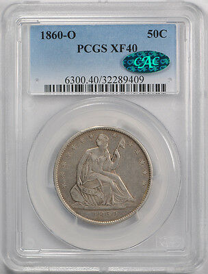 1860-O 50C Liberty Seated Half Dollar PCGS XF 40 Extra Fine CAC Approved