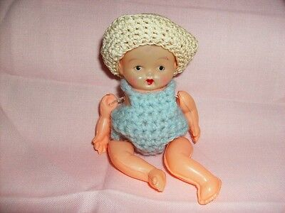 DOLL BABY very rare CELLULOID HEAD PLASTIC BODY arms legs move OCCUPIED JAPAN @!
