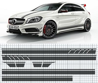 Mercedes-Benz A45 A-Class AMG Side,roof,bonnet stripe decal set. EDITION 1 style