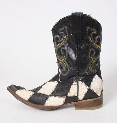 Vtg Black & White Ostrich Leather Patchwork Checker Western Cowboy Boots Kids 12