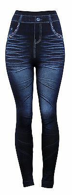 Fashion Jeggings Jeans Look Printed Leggings Women's Pants Stretchy Skinny #3