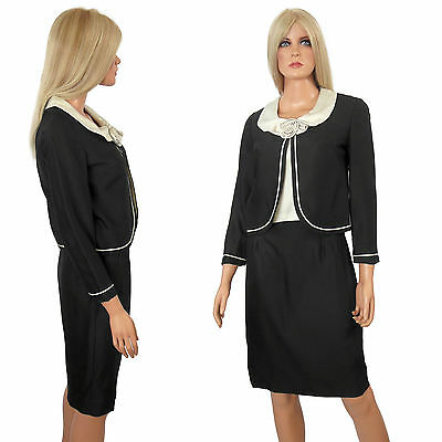 Vintage 60s 3 pc Skirt Suit Black Jackie O Kennedy Pencil Wiggle Office Career