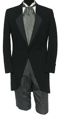 Black Cutaway Morning Coat with Striped Trousers Wedding Dickens *Choose Size*