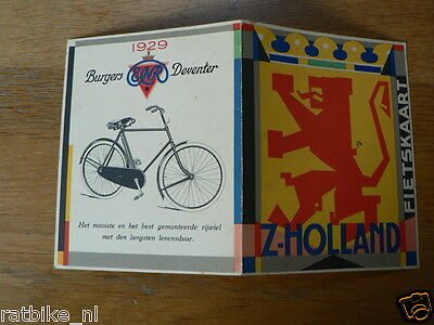 1929 Burgers Enr Deventer Fietskaart Z-Holland Plus Model Fiets
