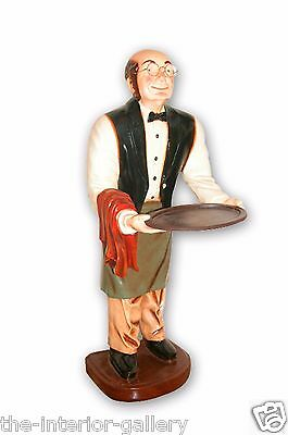 Connoisseur Statue - Old Man Waiter Butler Statue Holding Serving Tray 3 FT