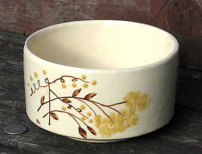 BRUSH ARTWARE painted ivory pottery BOWL ceramic brown & yellow TREE BRANCH buds