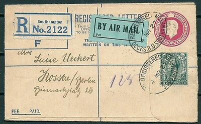 GB 1927 AIRMAIL REG. POSTAL COVER 4.5d +STAMP SOUTHAMPTON TO GERMANY -CAG 291116