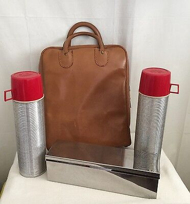 Vintage 1950s?  Double Thermos & Metal Food Box Picnic Set Leather Case USA