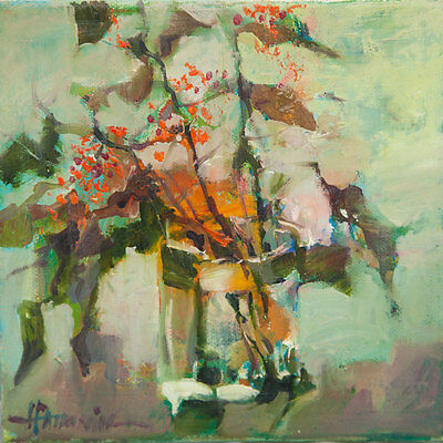 Flowers / Original Oil On Stretched Canvas by Sergej Hahonin / 20 x 20cm