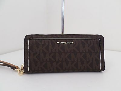 Nwt Auth Michael Kors Frame Out Travel Continental Signature Wallet-$178-Brown